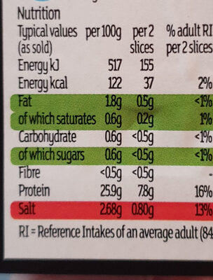 sainsbury's taste difference wafer thin air dried British ham slices - Nutrition facts