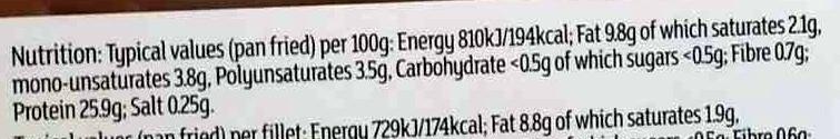 2 boneless seabass fillets - Informations nutritionnelles