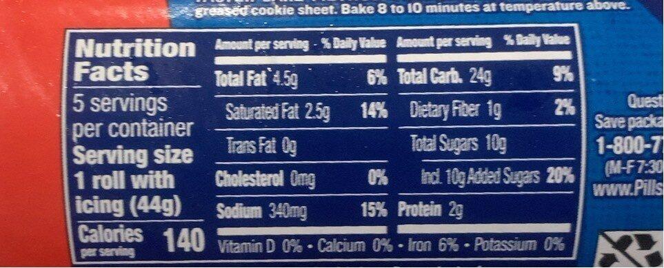 Pillsbury 5ct cinn rolls - Nutrition facts - en