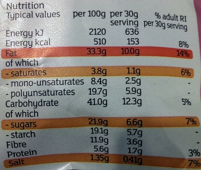 hand cooked vegetable crisps - Nutrition facts