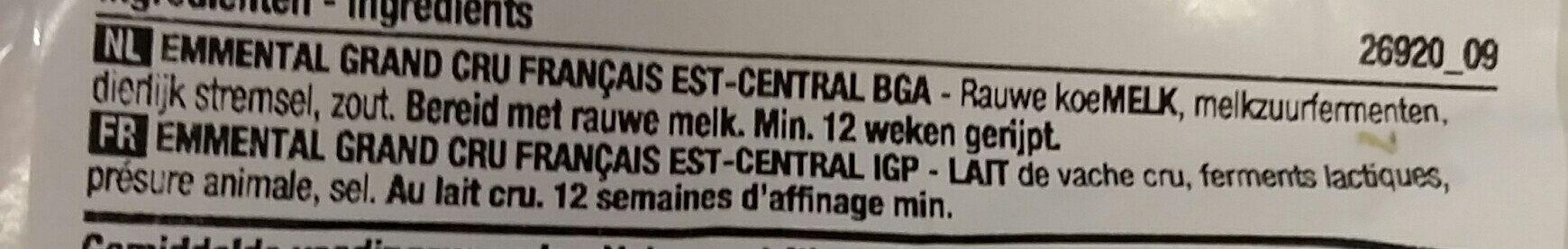 Emmental grand cru bloc - Ingredients - fr