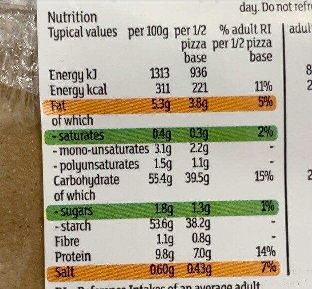 2 Pizza Bases - Valori nutrizionali - en