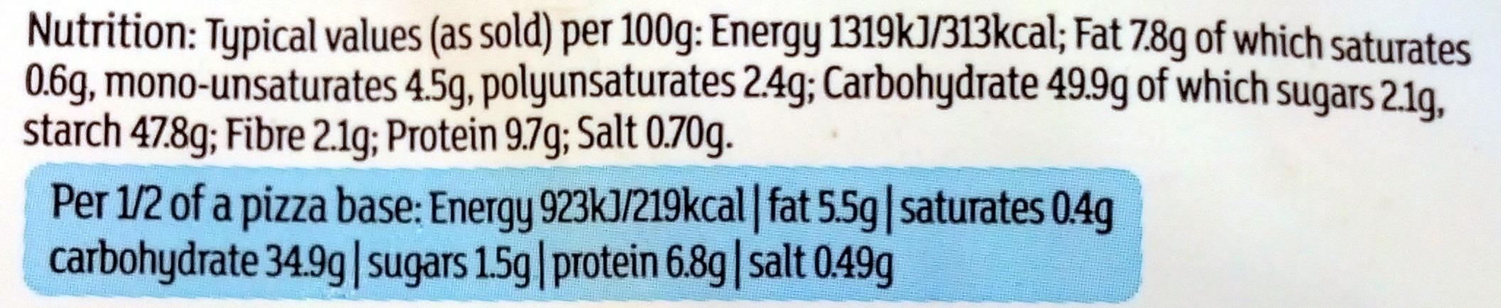2 thin & crispy pizza bases - Informations nutritionnelles - en
