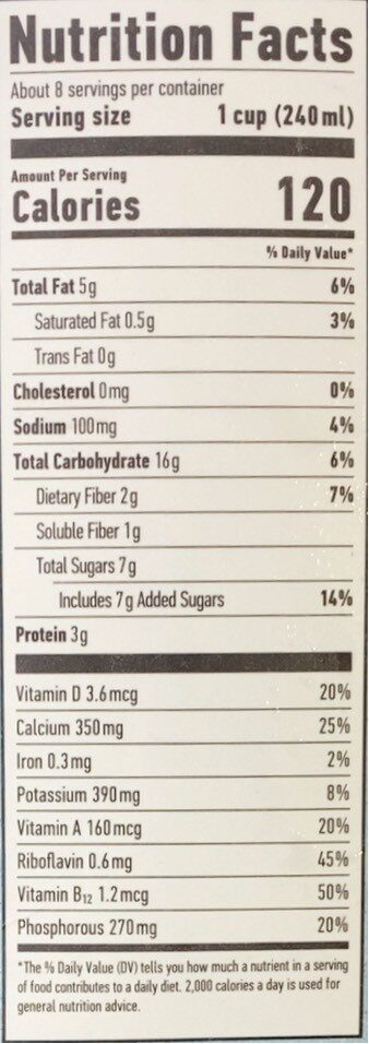 Original oat milk - Nutrition facts - en