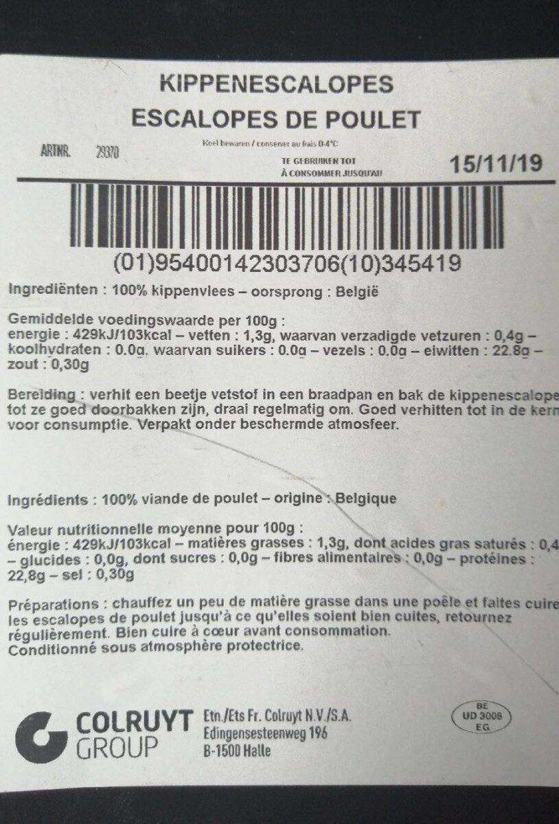 Escalope de poulet 400gr - Voedingswaarden