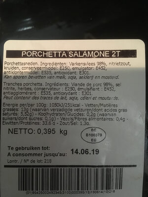 Porchetta Salamone - Nutrition facts