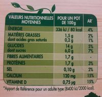 Yaourt Avoine riz amande - Nutrition facts
