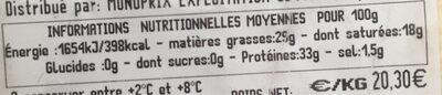 Grana padano - Informations nutritionnelles - fr