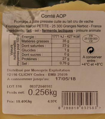 Comté - Ingrédients - fr