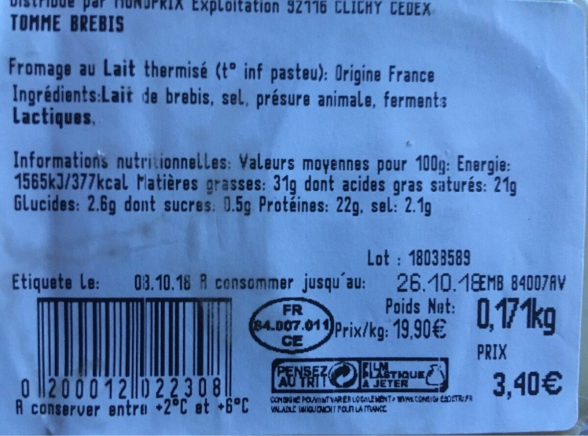 Tomme de brebis - Ingredienti - fr