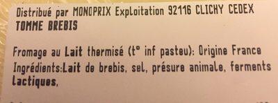 Tomme de brebis Monoprix - Ingredienti - fr