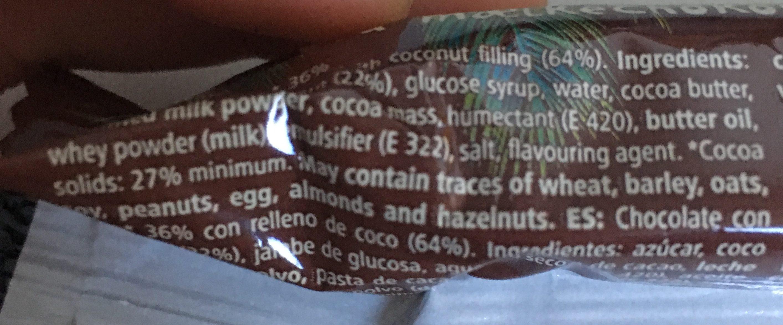 Coconut bar milk chocolate coated - Ingrediënten - en