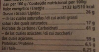 Bollas de chocolate Tiger - Información nutricional