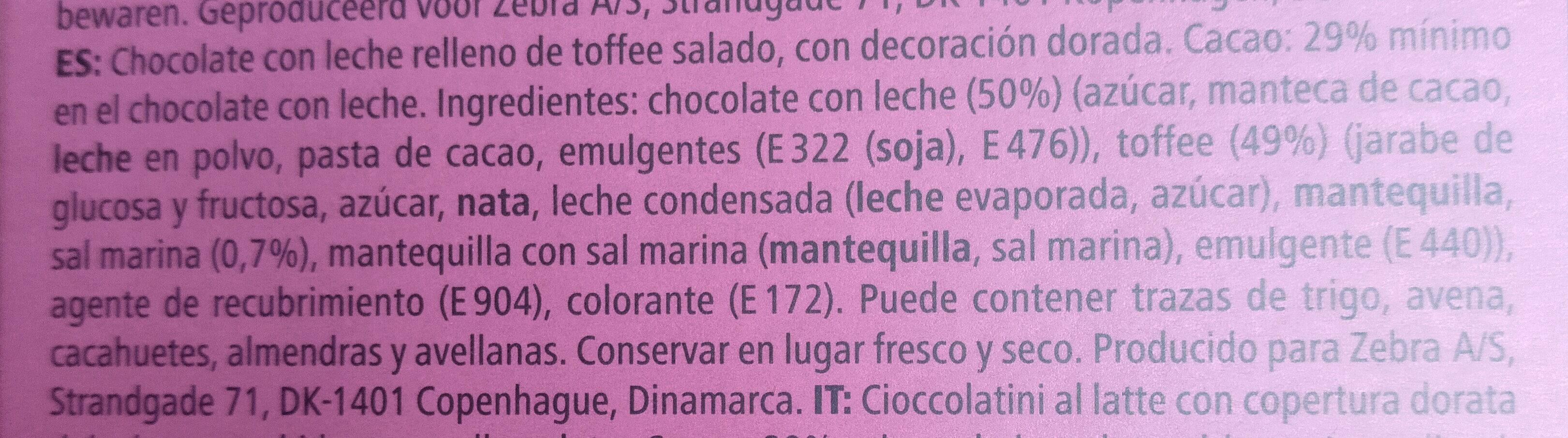 Milk chocolates salty caramel flavour - Ingredientes