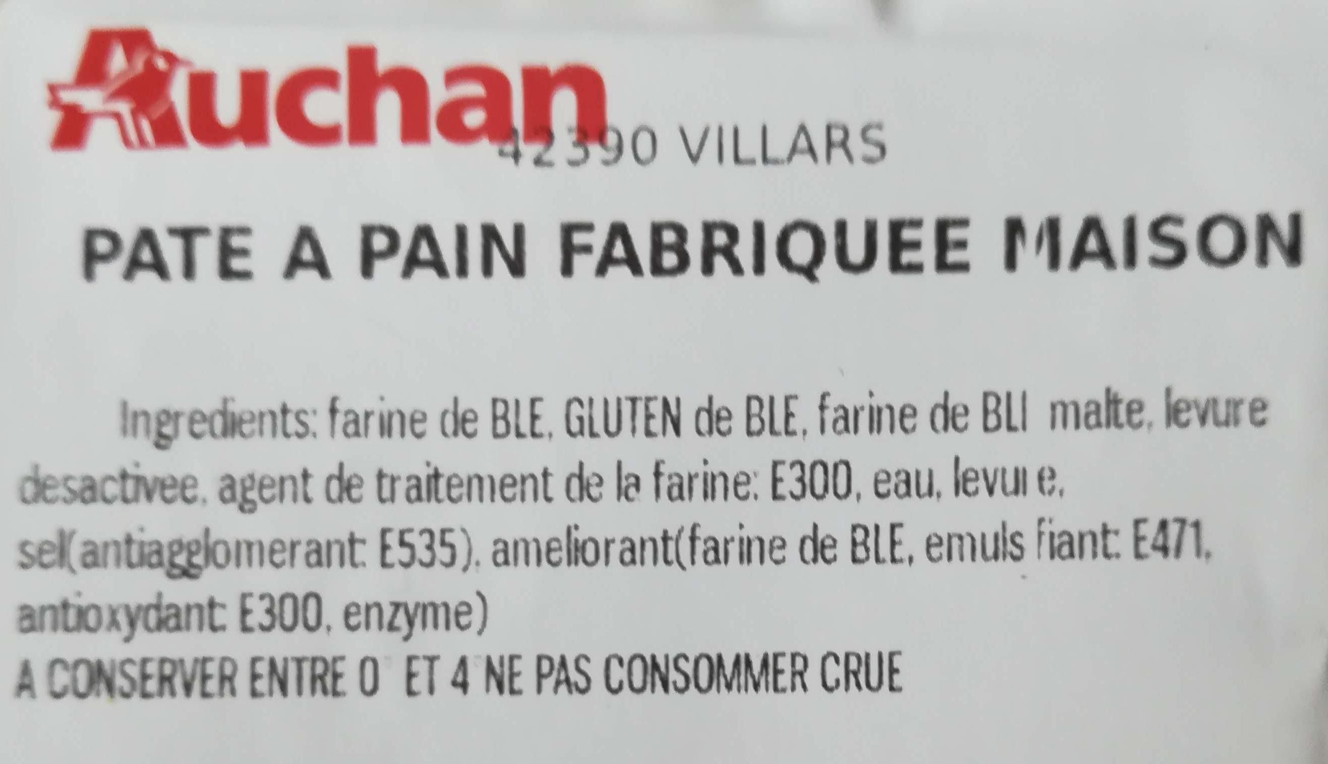 Auchan pate à pain fabriquée maison - Ingredients - fr