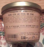 Pâté fin au foie de porc - Product - fr