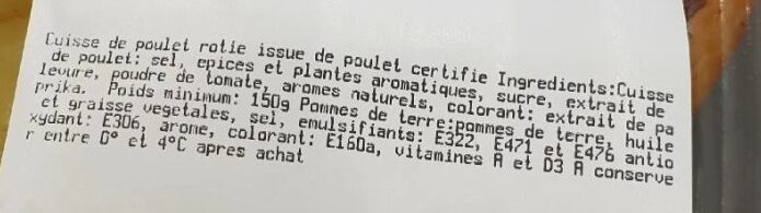 Cuisses de poulet et pommes de terre - Ingrediënten - fr