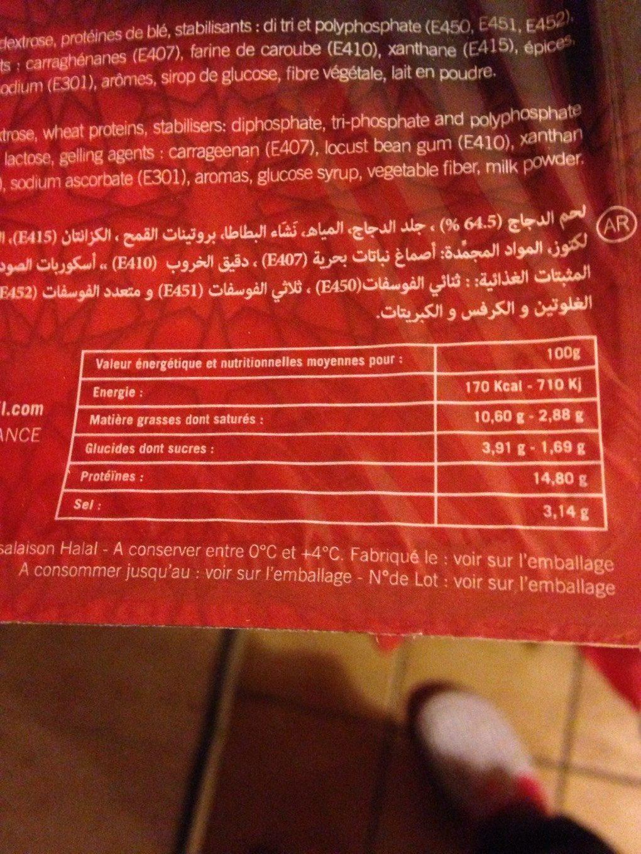 Poulet fume - Nutrition facts - fr