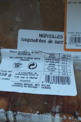 MERVEILLES saupoudrées de sucre cristal - Voedingswaarden - fr