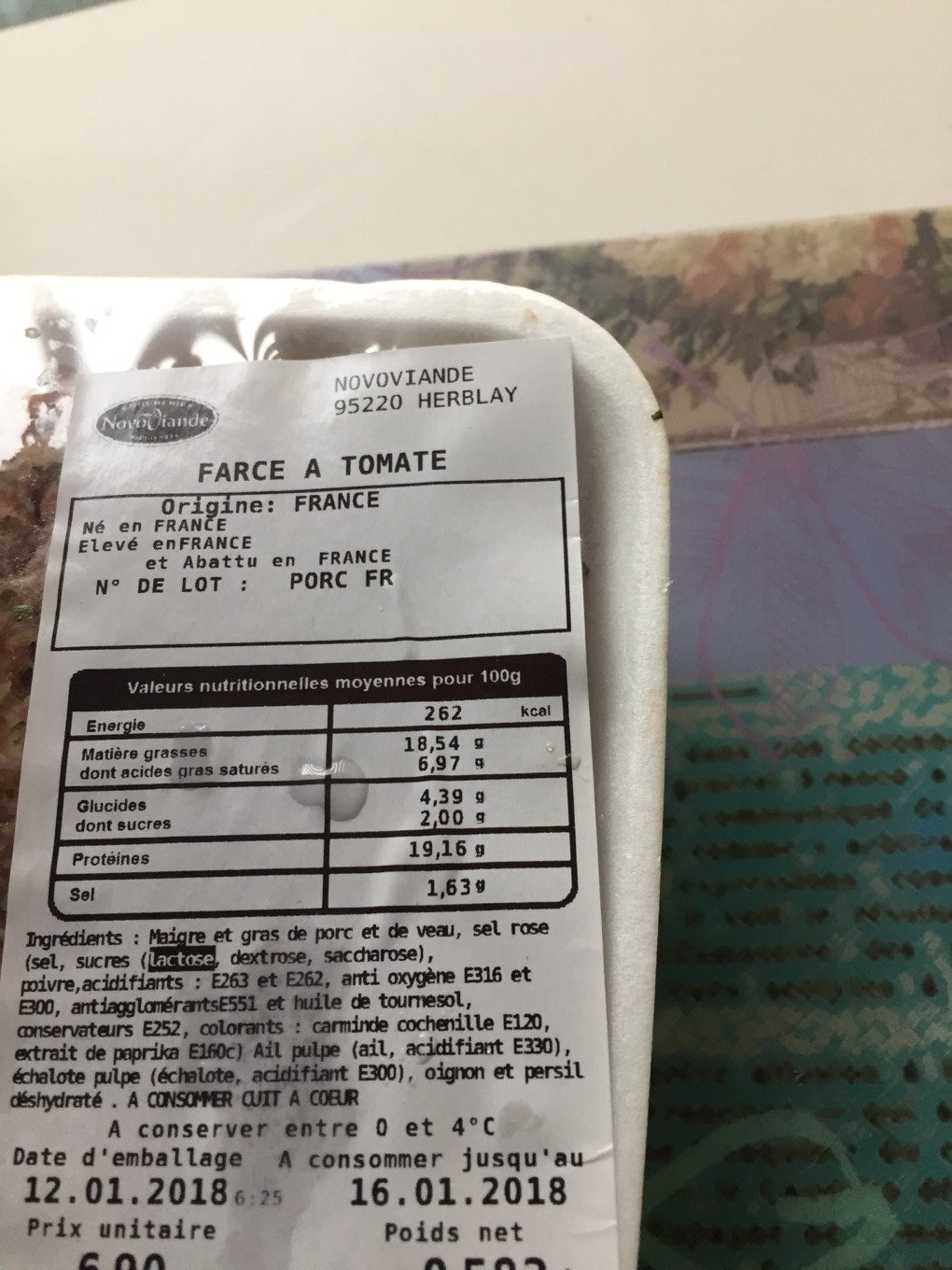 Farce a tomate - Informations nutritionnelles - fr
