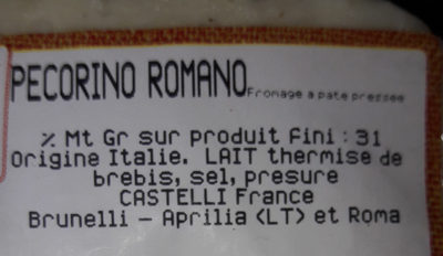 Pecorino Romano - Ingredients - fr