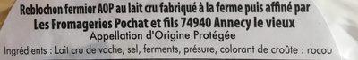 Roblochin Fermier  La pointe Percée - Ingredients - fr