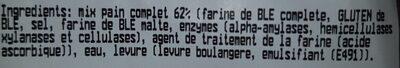 Pain complet tranché - Ingrédients - fr