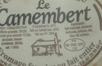Le camembert - Ingrédients - fr