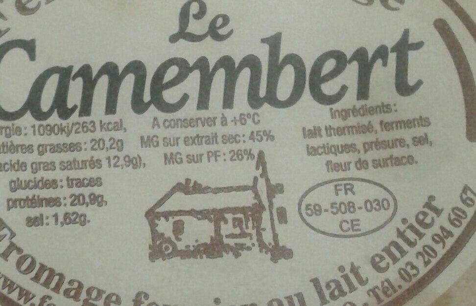 Le camembert - Ingrédients