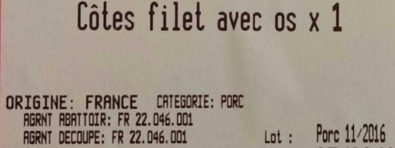 Côtes filet avec os x 1 - Ingrediënten - fr