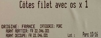 Côtes filet avec os x 1 - Ingredients - fr