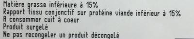 Steaks hachés - Informations nutritionnelles