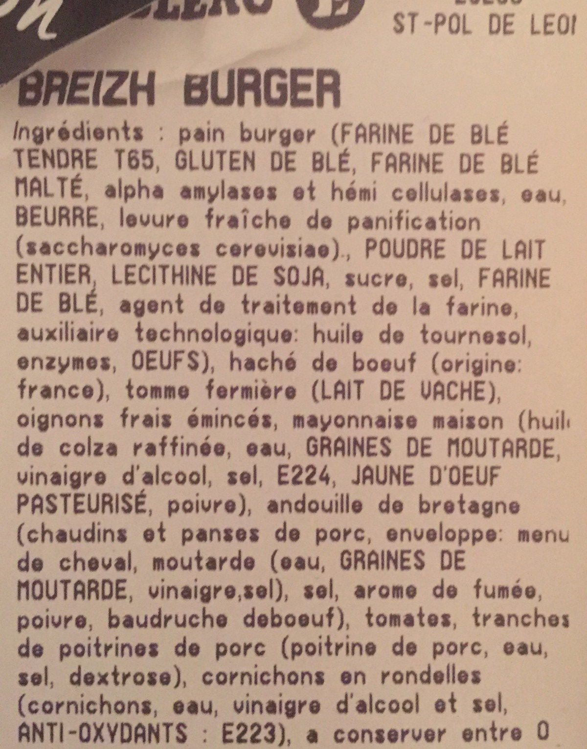 Breizh burger - Ingrédients - fr