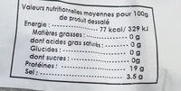 Morue salée séchée - Nutrition facts - fr