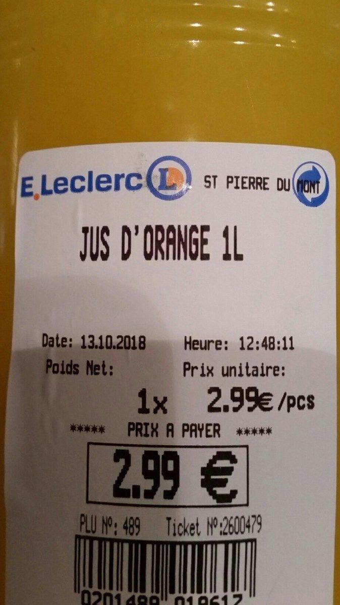 Jus d'orange frais pressé - Ingrédients