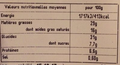 Galette Frangipane Indiv. - Informations nutritionnelles - fr