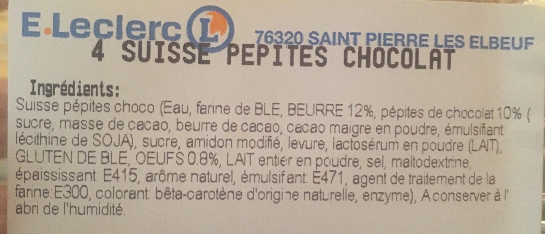 Suisses pepites chocolat - Ingrediënten