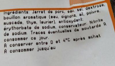 Jamboneau cuit supérieur KG - Ingrédients - fr