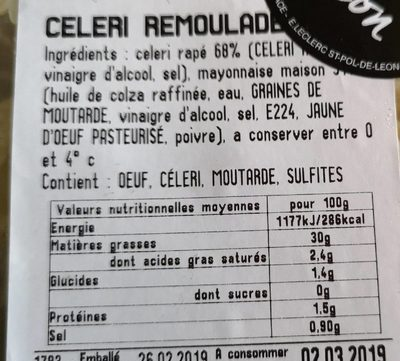Céleri remoulade - Ingredients