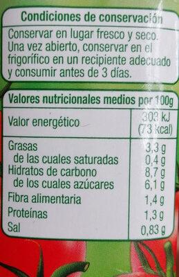 tomate frito auchan - Información nutricional - es