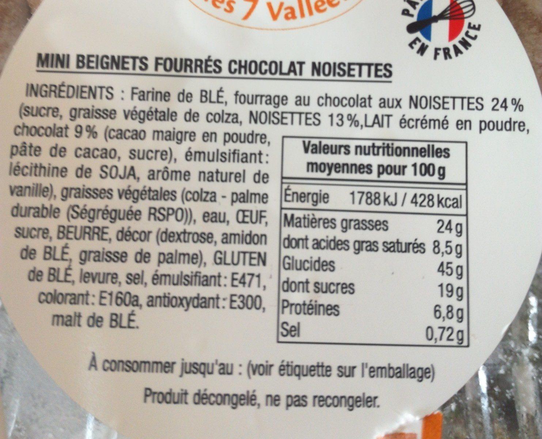 Beignets fourrés chocolat noisette - Ingrédients - fr