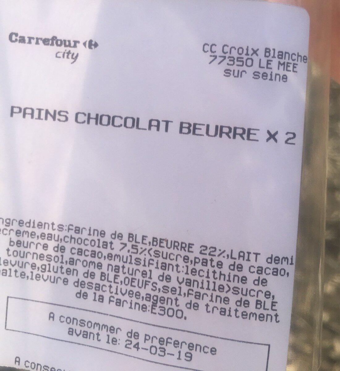 Pain chocolat beurre x2 - Product - fr