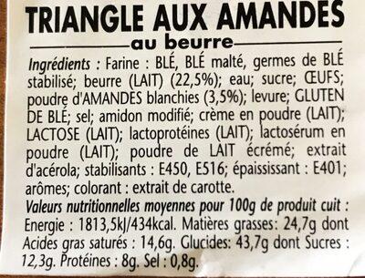 Triangle aux amandes - Ingrédients - fr