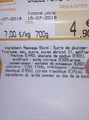 Grillé aux pommes 6 parts - Informations nutritionnelles - fr