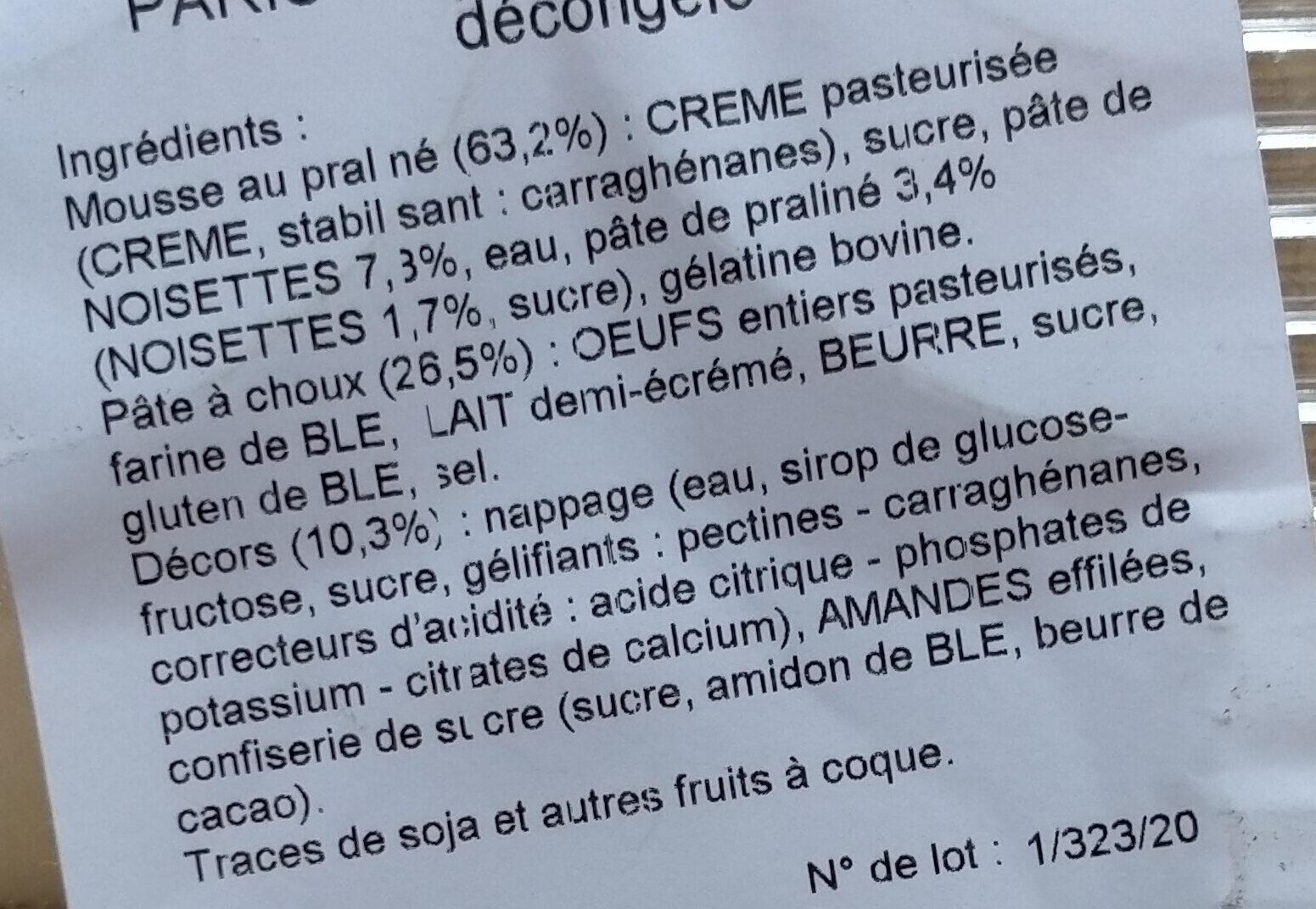 Paris Brest - Ingredienti - fr