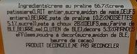 Paris Brest Décongelé individuel X 2 - Ingrediënten