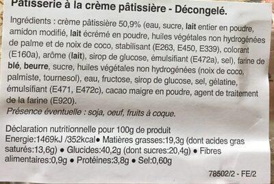 Millefeuille Décongelé individuel X 2 - Informations nutritionnelles