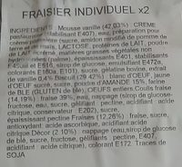 Fraisier décongelé individuel X 2 - Ingrédients