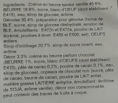 Buche beurre Vanille décongelé X 2 - Ingrédients