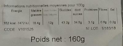 Buche beurre Vanille décongelé X 2 - Informations nutritionnelles